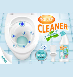 Cool mint toilet cleaner ad 3d vector