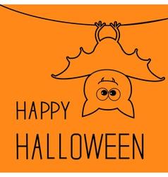 Cute contour bat happy halloween card flat design vector