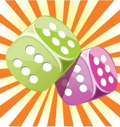 Dice lucky casino gambling game win success vector image