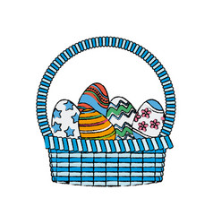 Drawing happy easter basket egg decoration image vector