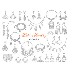 fashionable boho jewelry accessories collection vector image vector image