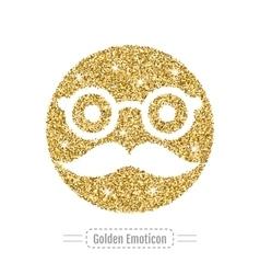 Golden glitter emoticon icon vector