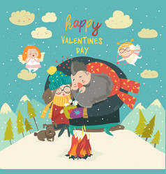 Happy couple on a date winter time creative vector
