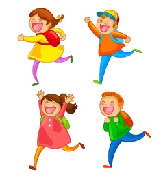 happy school kids vector image vector image
