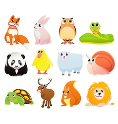 Isolated animals with happy smiles vector