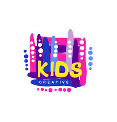 Kids creative colorful logo design template hand vector