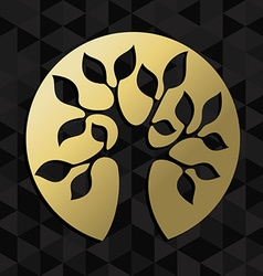 Life tree concept gold badge icon symbol vector