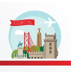 Lisbon detailed silhouette Trendy vector image