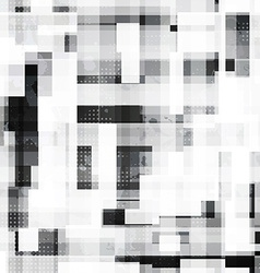 monochrome squares seamless pattern with grunge vector image