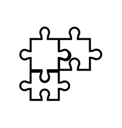 puzzle jigsaw piece business team outline vector image vector image