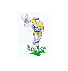 Rugby player running and passing ball vector image vector image