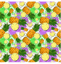 seamless pattern pineapple fruits exotic ornament vector image vector image