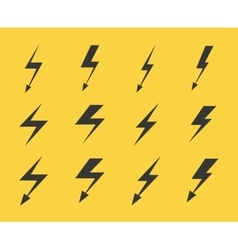 Set of lightnings over yellow background vector