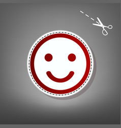 Smile icon red icon with for applique vector
