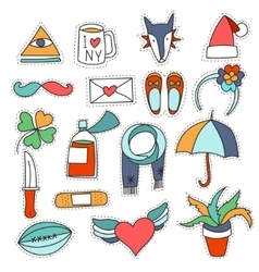 Set cartoon patch badges or fashion pin vector