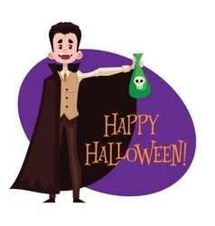 Happy boy dressed as dracula for halloween vector