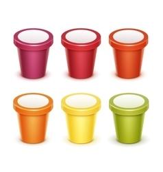 Set of Tub Bucket Container For Yogurt Ice Cream vector image