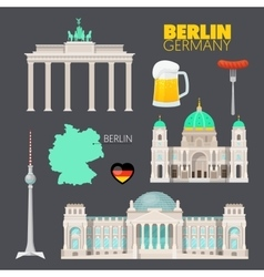 Berlin germany travel doodle with architecture vector