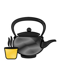 Drawing japanese teapot teacup drink oriental vector