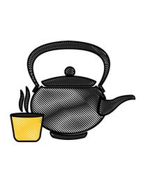 drawing japanese teapot teacup drink oriental vector image