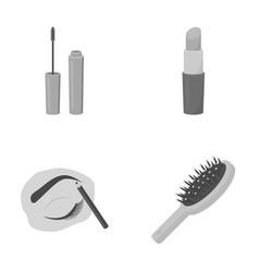 mascara hairbrush lipstick eyebrow pencil vector image
