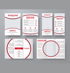 A4 flyer and a narrow flyer with red design vector