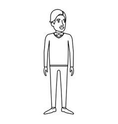 Monochrome silhouette of man stand in formal vector