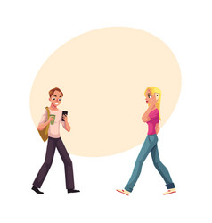 Young man and woman using smartphone mobile phone vector