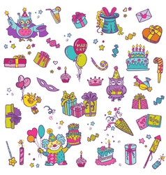 Hand drawn birthday celebration design elements vector
