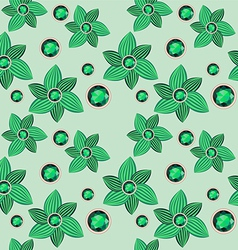 Green flower with emerald seamless pattern vector
