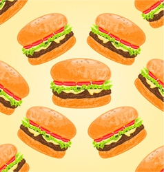 Seamless texture delicious big hamburgers vector