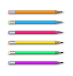 Set of multicolored pencils on white vector