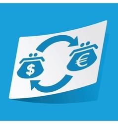 Dollar-euro exchange sticker vector image