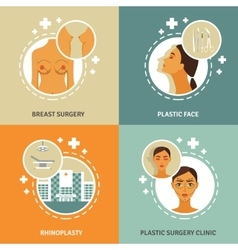 Plastic surgery concept 4 flat icons vector