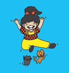 Cute girl with cat jump vector