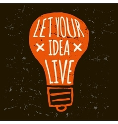 Doodle lightbulb orange grunge conceptual vector
