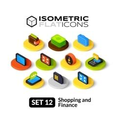 Isometric flat icons set 12 vector image