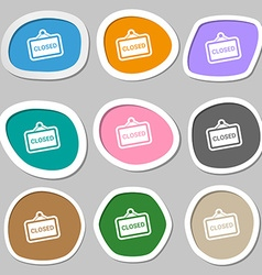 Close icon symbols multicolored paper stickers vector