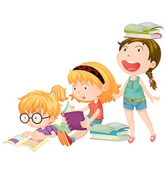 Three girls enjoy reading books vector