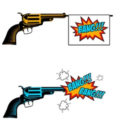 Bang bang toy revolver with flag pop art style vector