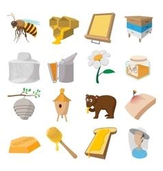 Apiary cartoon icons set vector image vector image