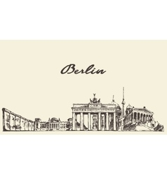 Berlin skyline drawn sketch vector image