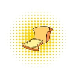 Bread and butter icon in comics style vector