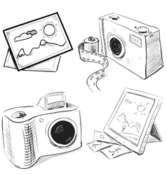Camera and picture icons set vector image