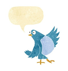 Cartoon dancing bluebird with speech bubble vector
