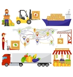 Cartoon green eco food fruits delivery truck vector image