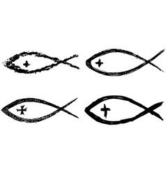 Christian fish icon vector image vector image