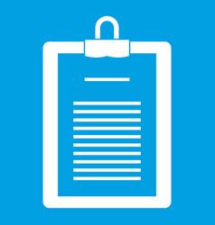 Clipboard with checklist icon white vector