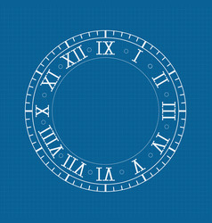 Clock with roman numerals on blue backgroud vector