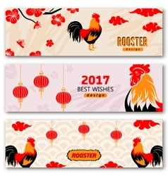 Collection banners with chinese new year roosters vector